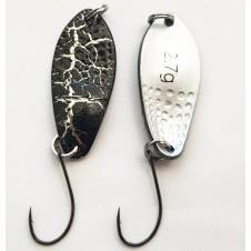 Trout Spoon XVII - 2,7g - schwarz-crinkle/silber matt